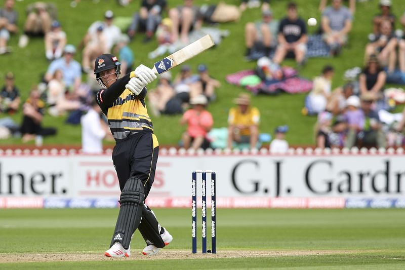 Finn Allen in action for the Wellington Firebirds.