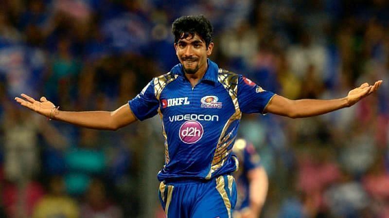 Jasprit Bumrah in IPL action for the Mumbai Indians