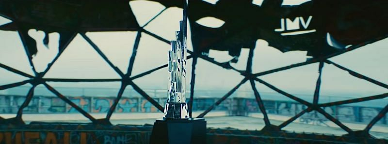 "Visual from the ""Crown"" music video featuring the LEC trophy (Screengrab Via LEC YouTube channel)"