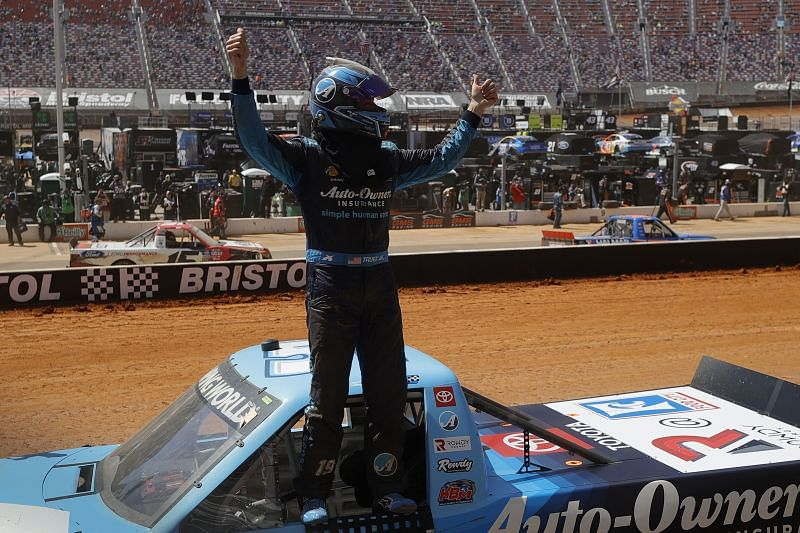 Martin Truex Jr. celebrates his first ever truck series win. (Photo by Jared C. Tilton/Getty Images)