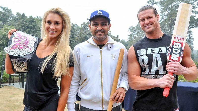 WWE Superstars with cricketing legend Virender Sehwag