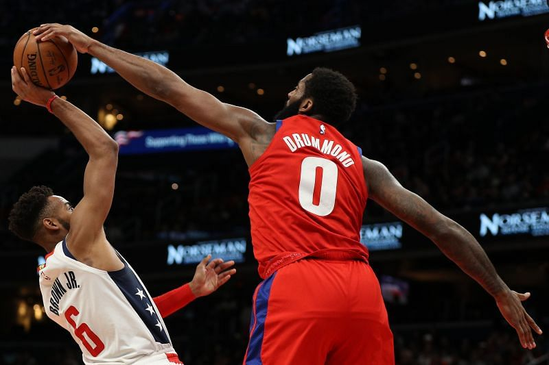 Andre Drummond (R) in action