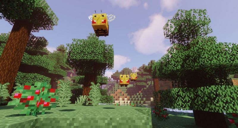 Shown: A hoard of angry Bees rushing at the player (Image via Minecraft)