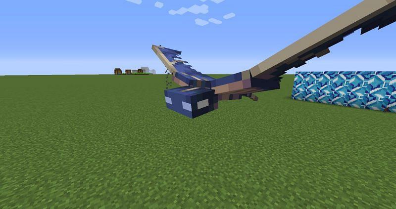 A Phantom flying above a Superflat world (Image via u/DanglingChandeliers on Reddit)