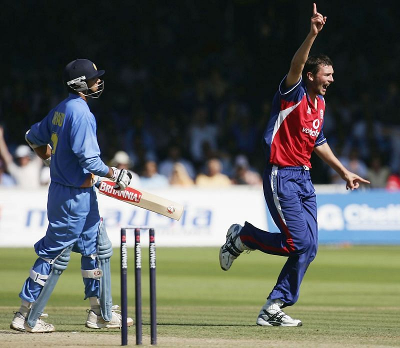 Steve Harmison on fire after getting Rahul Dravid at Lord