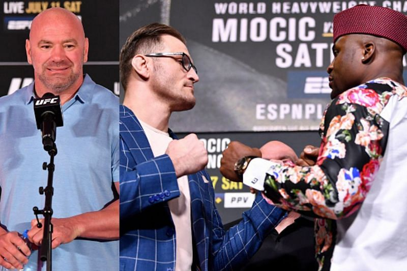 Dana White (Left), Stipe Miocic and Francis Ngannou (Right).