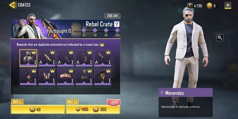 Open one Crate by paying Ten COD points