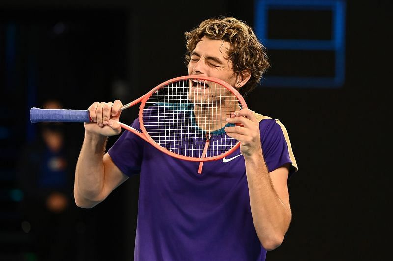 Taylor Fritz reacts during his third-round match at the 2021 Australian Open