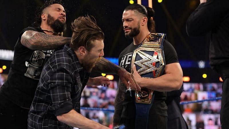 Jey Uso, Daniel Bryan, and Roman Reigns