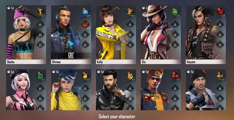 Characters in Free Fire