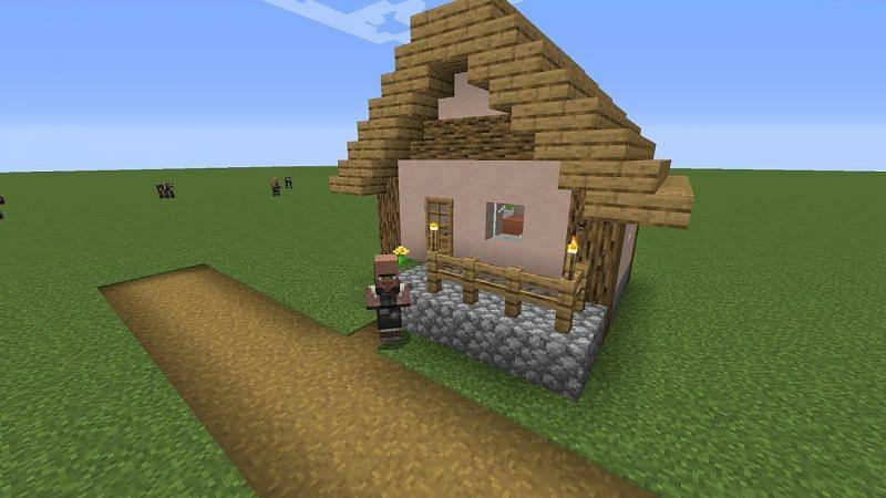 Classic Minecraft village house (Image via YouTube)