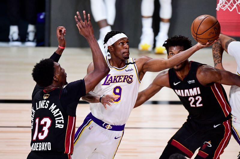 Rajon Rondo scores during Game 6 of the 2020 NBA Finals