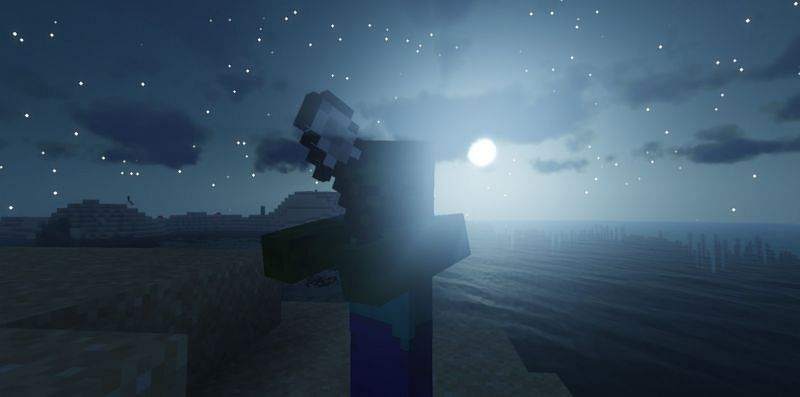 Shown: A rabid Zombie chasing the player with a shovel during a full moon (Image via Minecraft)