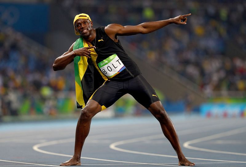 Usain Bolt after his 200m win at the RIO Olympics