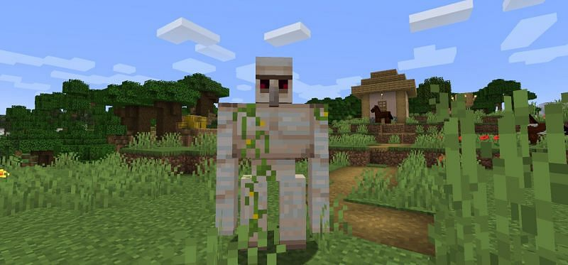 Iron Golems in Minecraft protect villages when the player is unable to (Image via Minecraft)