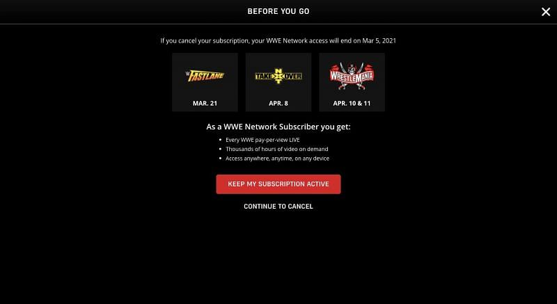 The cancellation screen of the WWE Network confirms the date of the next NXT TakeOver event.
