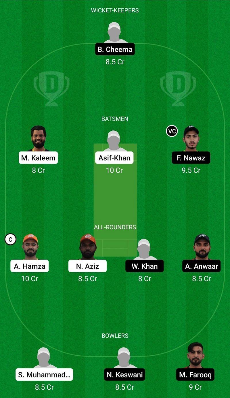Dream11 Team for Ajman vs Dubai - Emirates D10 League 2021.