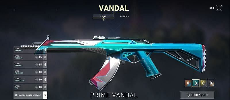 Prime Vandal Variant unlocked at level 6 (Screengrab via Valorant)