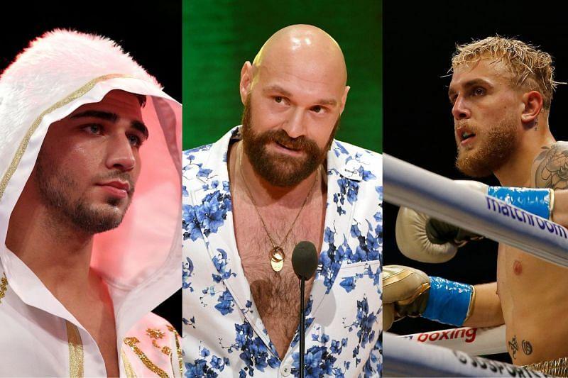 Tommy Fury (left) Tyson Fury (center) Jake Paul (right)