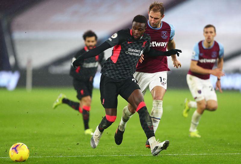 Divock Origi against West Ham United in the Premier League