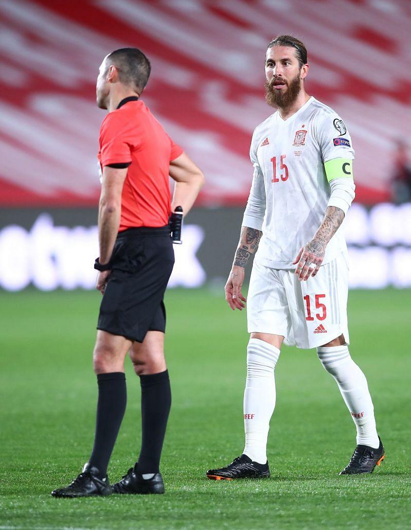 Sergio Ramos was taken off at half-time