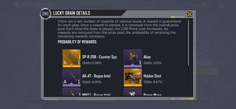 Rewards and price of each turn will be random depending on the previous draw