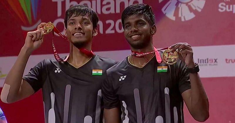 Chirag Shetty (L) and Satwiksairaj Rankireddy after winning the 2019 Thailand Open title