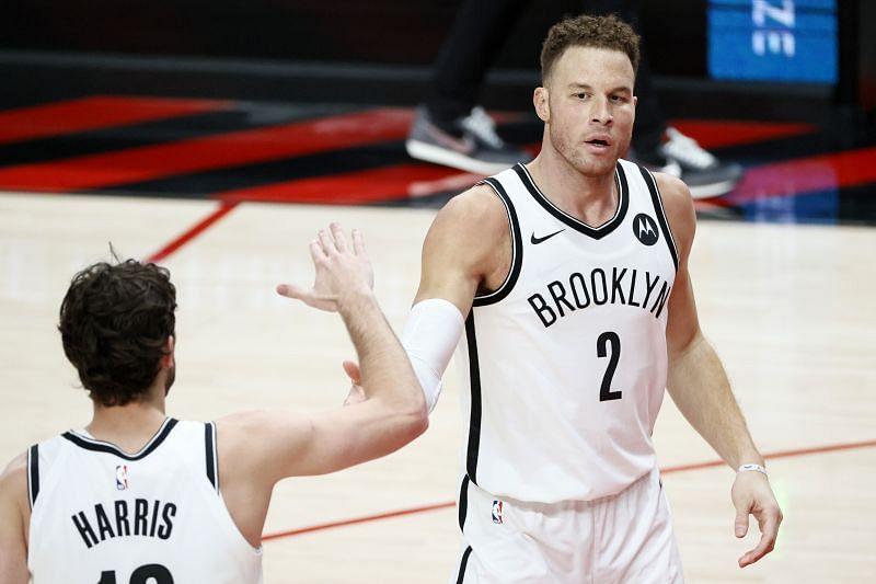 Joe Harris #12 and Blake Griffin #2 of the Brooklyn Nets.