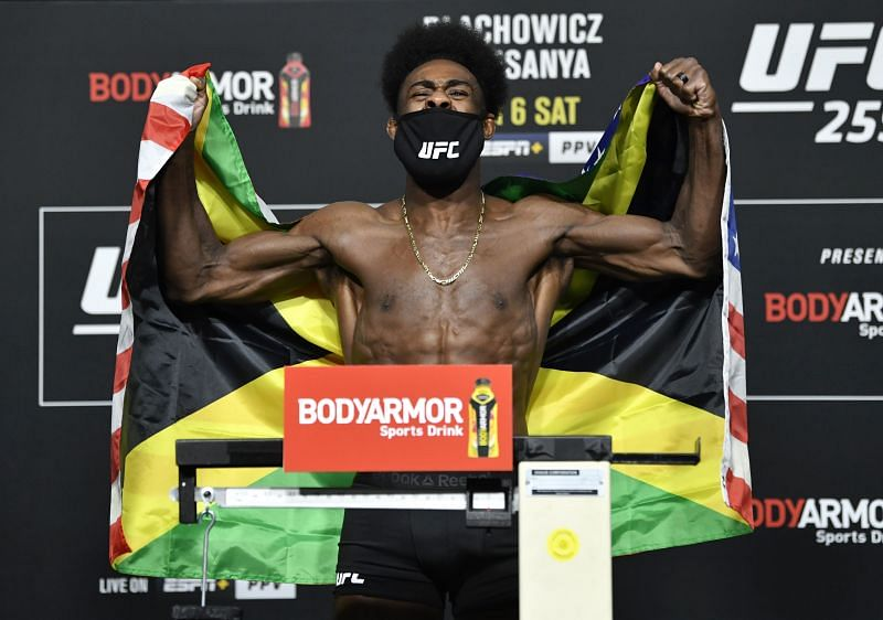 Aljamain Sterling at the weigh-ins for UFC 259