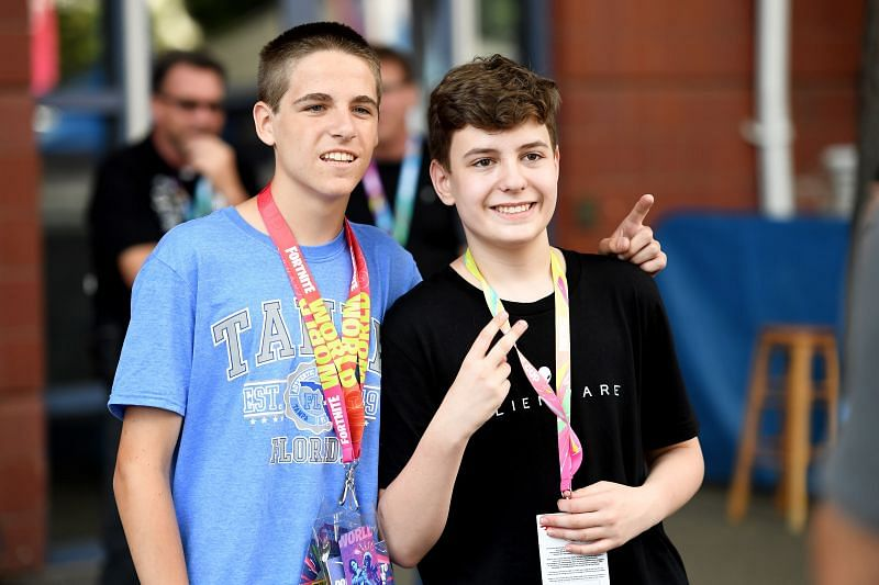 Clix with a fan during the Fortnite World Cup Finals, Round 1 (Photo by Sarah Stier/Getty Images)