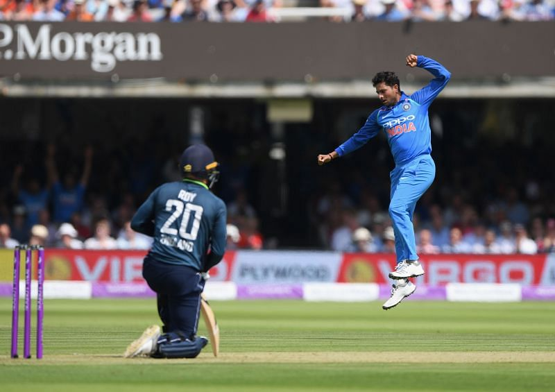 Kuldeep Yadav after getting the better of Jason Roy in 2018