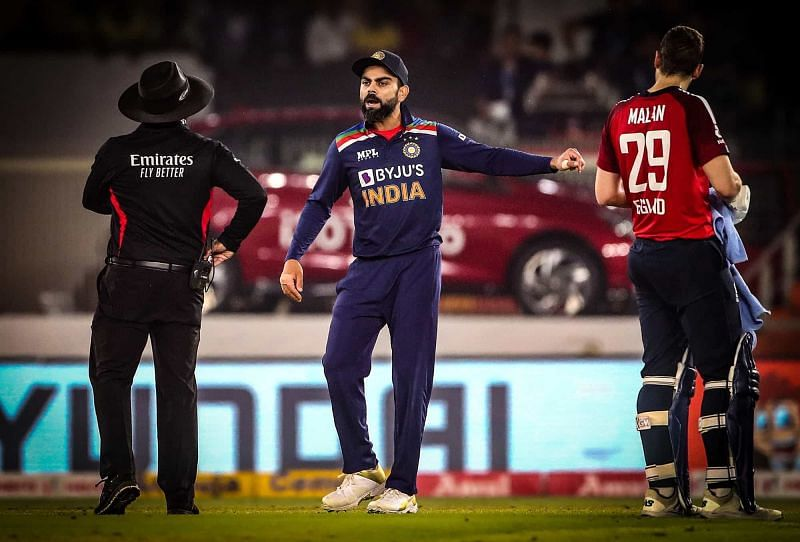 Virat Kohli in animated discussions with the umpire in the 5th T20I. (PC: Twitter)