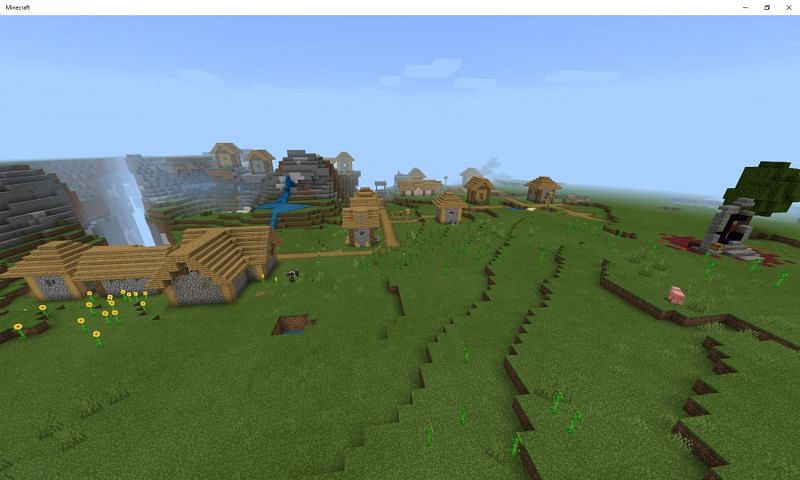 Starting off at a site with everything nearby is just the best feeling! (Image via Mojang)