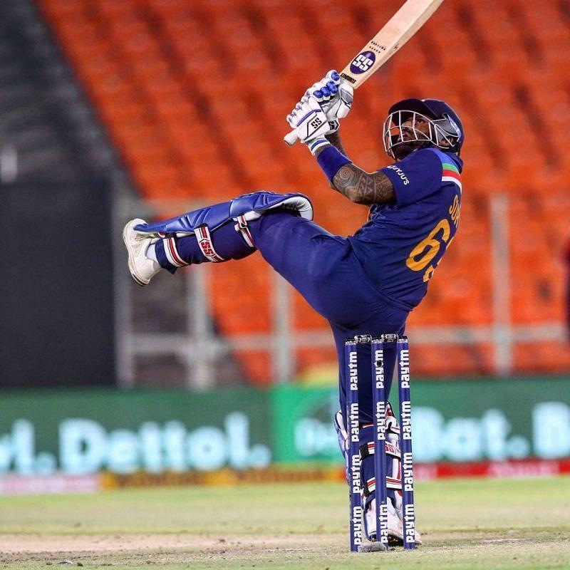 Suryakumar Yadav pulls his first ball in international cricket for a stunning six. (Photo: Twitter)