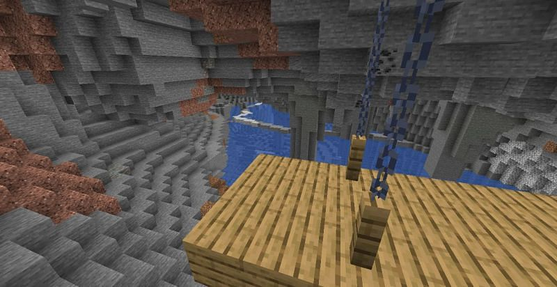 Hanging Mineshaft over a submerged cave (Image via Minecraft)
