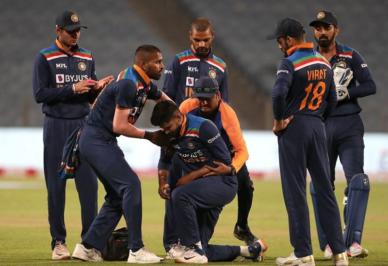 Shreyas Iyer hurt his left shoulder while diving in the field against England in the first ODI in Pune.