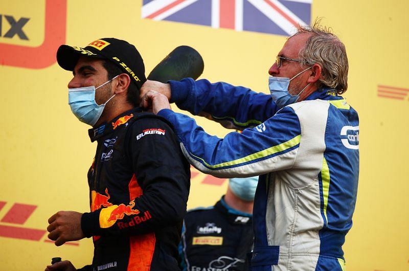 Jehan Daruvala celebrating his maiden win in Formula 2. Photo: Bryn Lennon/Getty Images.
