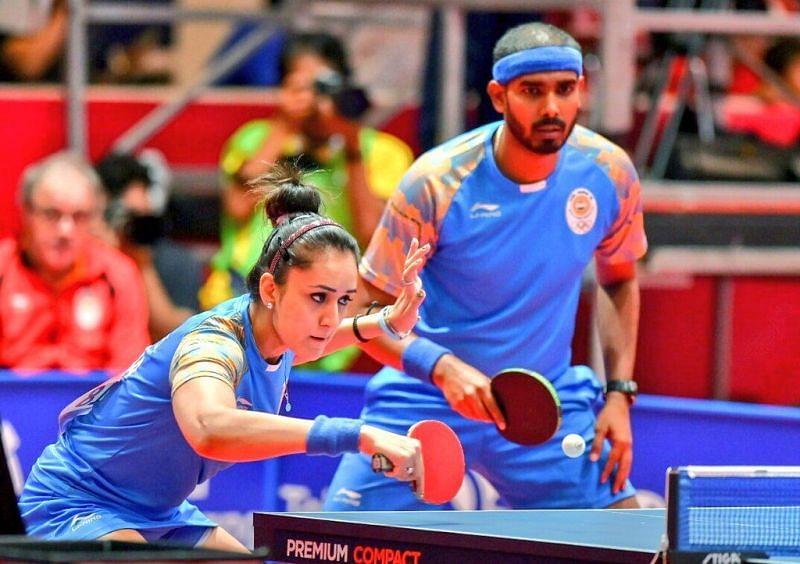 Manika Batra (L) and Sharath Kamal have qualified for Tokyo Olympics mixed doubles. (Source: Twitter)