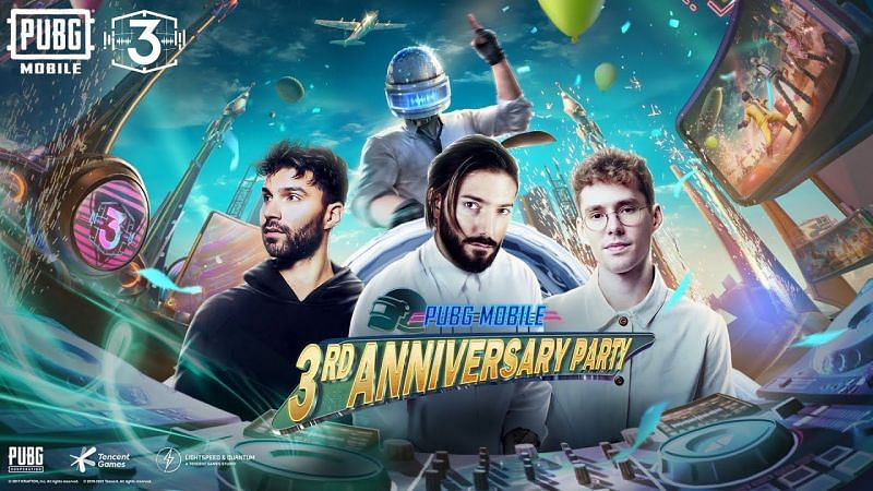 The PUBG Mobile 3rd Anniversary party will feature Alesso, Lost Frequencies, and R3HAB (Image via PUBG Mobile)