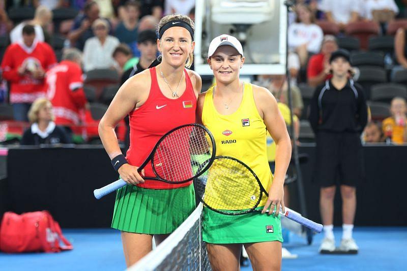 Victoria Azarenka (L) and Ashleigh Barty