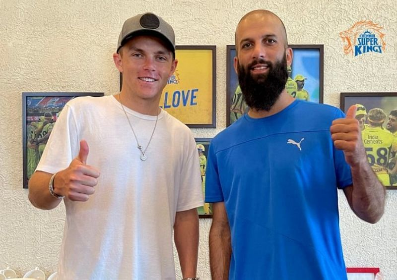 Sam Curran and Moeen Ali. Pic: CSK/ Twitter