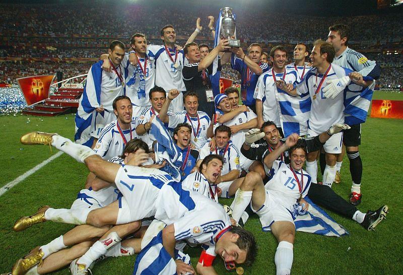 Greece celebrate their unexpected Euro 2004 triumph