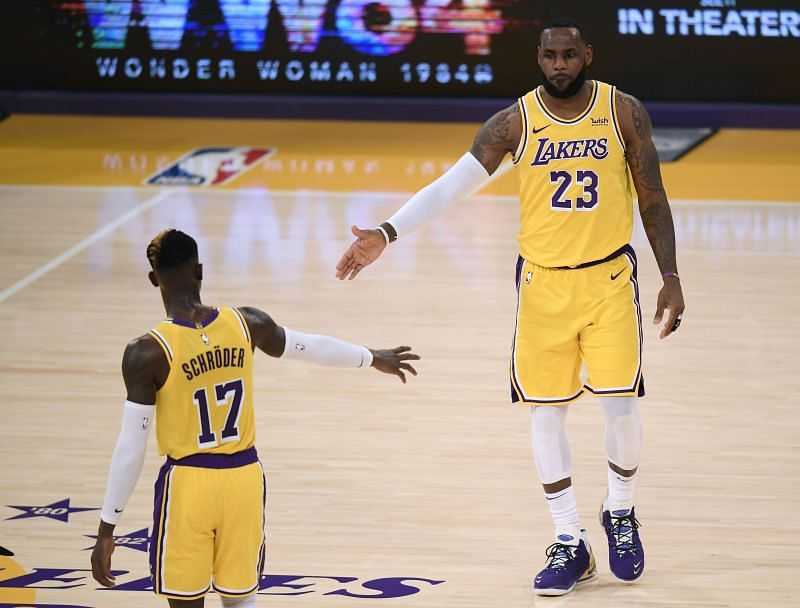 Dennis Schroder (left) has supported LeBron James (right) well in the absence of Anthony Davis.