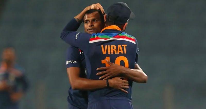 T Natarajan (left) and Virat Kohli. Pic: BCCI