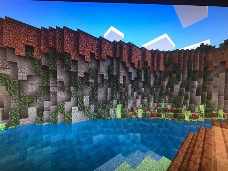 Terraformed cliff (Image via u/arttubetterii on Reddit)