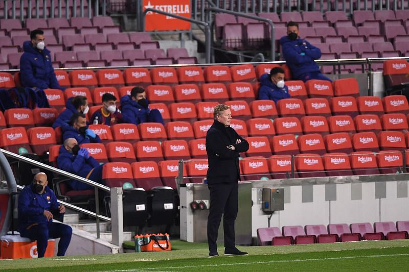 Barcelona manager Ronald Koeman looks on during a match