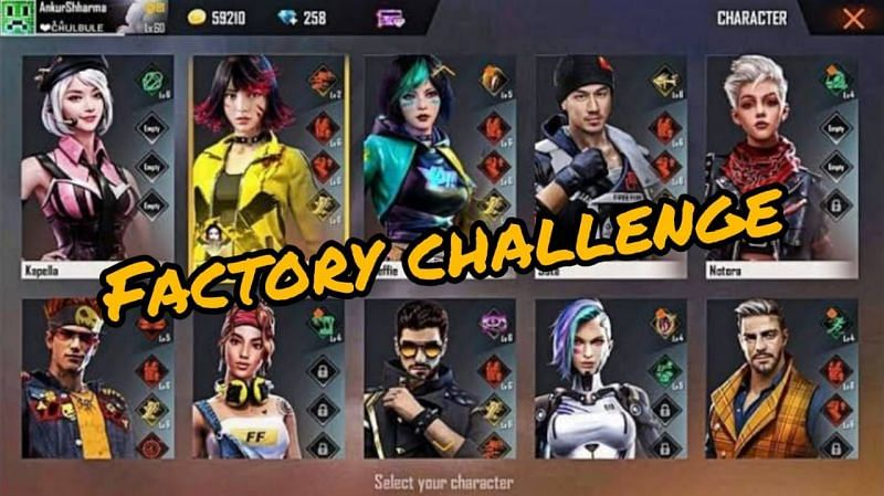 Listing the best Free Fire characters for the Factory Challenge this month