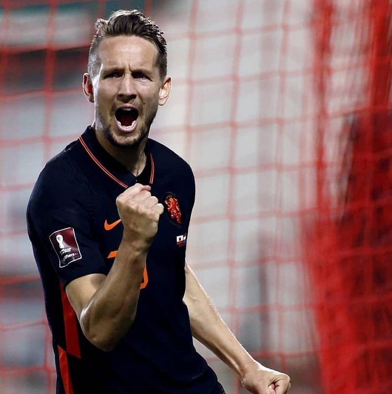 Luuk de Jong celebrates after scoring a goal.