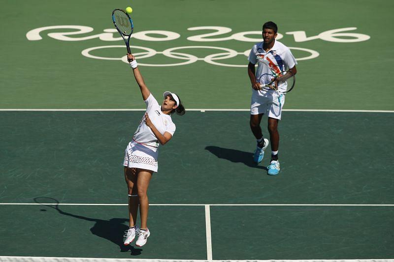 Rohan Bopanna and Sania Mirza at the Rio 2016 Olympic Games in Rio de Janeiro, Brazil