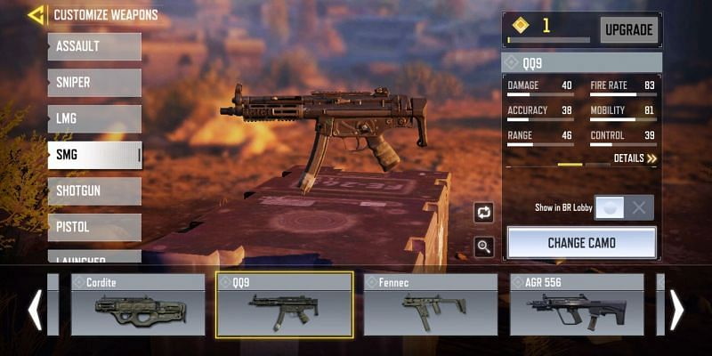 QQ9 is a great option as the primary weapon in BR Mode